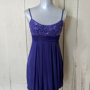 Royal Purple Sequin Evening Dress